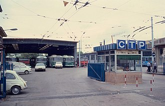 Trolleybuses in Naples - The Maddalena Depot of CTP (and previously TPN) in 1983. It closed in 1999, and the fleet was moved.