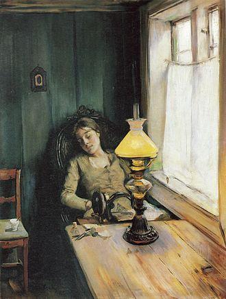 Albertine i politilægens venteværelse - Image: C Krohg Trett