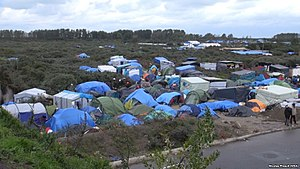 Calais Jungle - The camp was estimated to have around 4,000 occupants in October 2015. Almost all were living in temporary shelters like these.