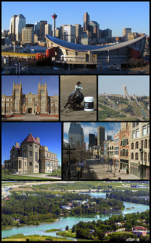 English: From top left, the Saddledome and dow...