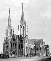 A Black And White Drawing Of Church Similar To The Cathedral With Two