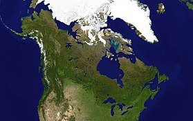 A satellite composite image of Canada. Boreal forests prevail throughout the country, including the Arctic, the Coast Mountains and Saint Elias Mountains. The relatively flat Prairies facilitate agriculture. The Great Lakes feed the St. Lawrence River (in the southeast) where lowlands host much of Canada's population.
