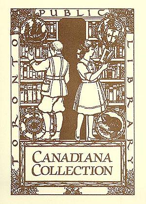 Canadiana - J. E. H. MacDonald's Toronto Public Library Canadiana bookplate