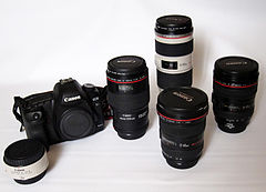 Canon EOS 5D Mark II and some Canon lenses.jpg