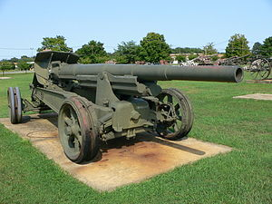 Canon de 155mm GPF - 155 mm GPF gun in travel position at US Army Ordnance Museum