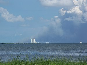 American Space Museum - View of the Kennedy Space Center's Vehicle Assembly Building from Space View Park