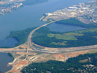 National Harbor, Maryland - Start of construction for National Harbor (lower left) at the junction of the Capital Beltway and the southern terminus of the Anacostia Freeway; the Woodrow Wilson Bridge is just off the picture to the left.