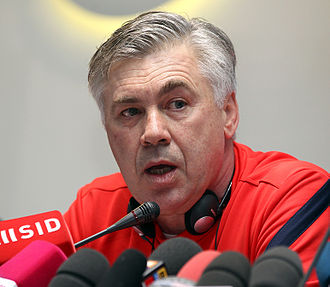 Carlo Ancelotti - Ancelotti during a press conference with Paris Saint-Germain in 2012