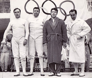 Alberto Pellegrino - Italian épée team at the 1960 Olympics, Pellegrino is 2nd from right