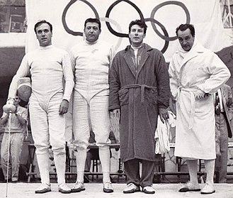 Carlo Pavesi - Italian épée team at the 1960 Olympics, Pavesi is 1st from left