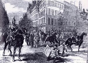 Self-coup - Cavalry in the streets of Paris during the French coup of 1851, whereby the democratically elected President Louis-Napoléon Bonaparte seized dictatorial power. A year later he was crowned Emperor of the French.