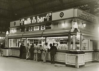 Central railway station, Sydney - A milk bar inside Central station, circa 1947