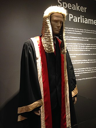 Speaker of the Parliament of Singapore - The wig and ceremonial gown of the Speaker of Parliament on display in Parliament House, Singapore. The Speaker dons the gown during the Opening of Parliament ceremony, but the wearing of the wig was discontinued in 1993.