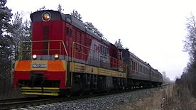 Файл:ChME3-3808 with train №6706 Tumskaya - Vladimir.webm