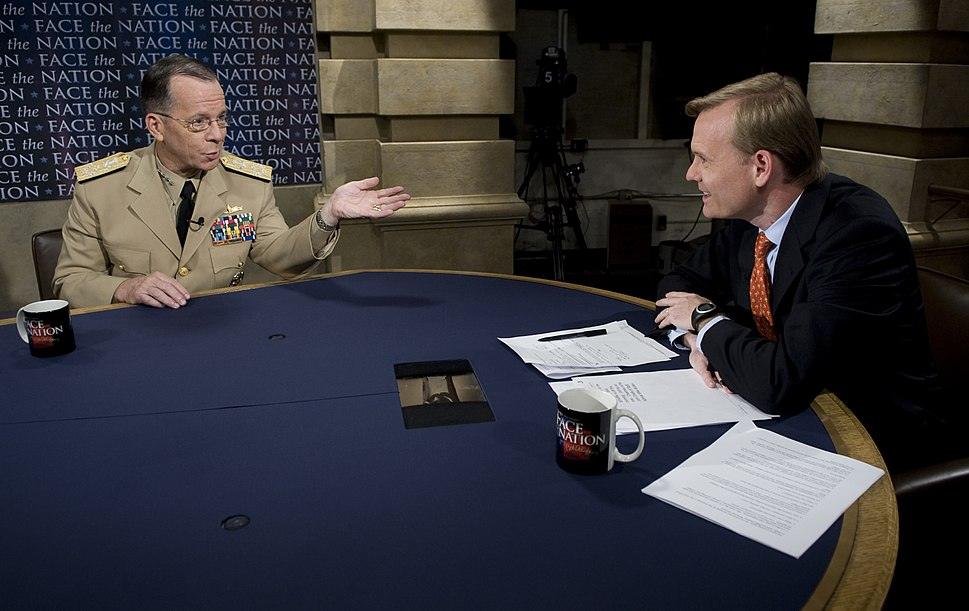 Chairman of the Joint Chiefs of Staff Navy Adm. Mike Mullen gives an interview to John Dickerson during the CBS news program Face the Nation in Washington, D.C., July 5, 2009 090705-N-TT977-156