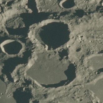 Moulton (crater) - Oblique Apollo 15 image with Moulton above center and Chamberlin below center, facing south