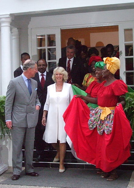 The Prince of Wales and the Duchess of Cornwall in Jamaica, March 2008 Charles Camilla Jamaica 2008.jpg