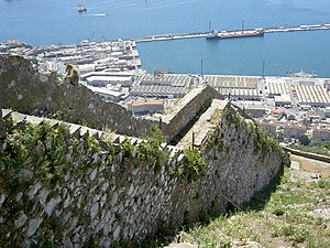 Fortifications of Gibraltar - The Charles V Wall, built in 1540 and strengthened in 1552 by King Charles I of Spain (Charles V of the Holy Roman Empire)