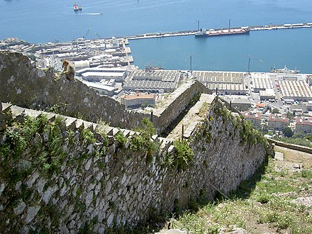 Charles V Wall, built by the Spanish to control access to the south side of Gibraltar after the pirate raid of September 1540 Charles V Wall.jpg