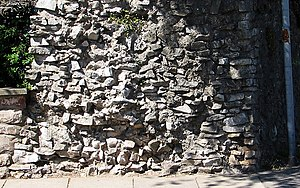 Chepstow Port Wall - Section through the wall showing its rubble construction