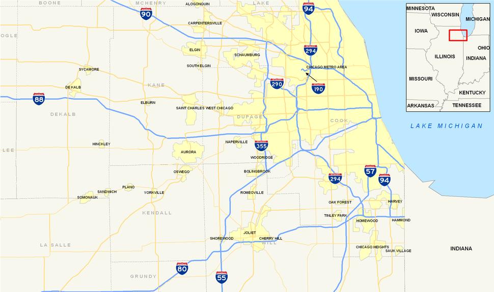 Chicago Interstates map