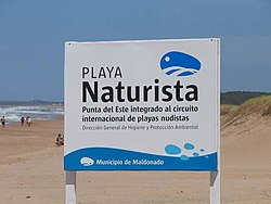 Sign on the naturist beach