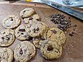 Chocolate chip cookies on cutting board.jpg