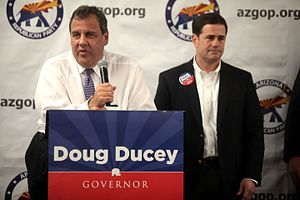 Chris Christie presidential campaign, 2016 - Governor Chris Christie campaigning with Gubernatorial candidate Doug Ducey in Arizona.