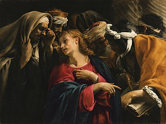 Caravaggisti - Image: Christ amongst the Doctors, oil on canvas painting by Orazio Borgianni
