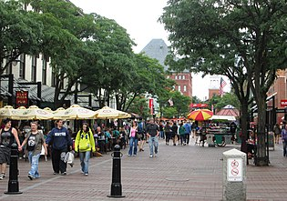 Church Street is the centerpiece of downtown Burlington and a pedestrian mall (2013)
