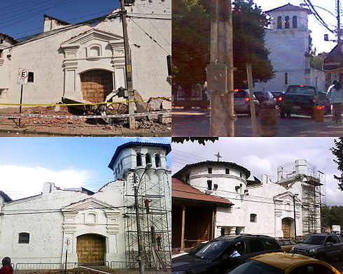 The Church of Santa Cruz was severely damaged in the earthquake and is being slowly demolished. Picture at the top right is the Church, as it looked in December 2009. Image: Diego Grez.
