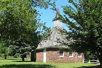 East Jersey Olde Towne Village - Image: Church of the Three Mile Run, north view, EJOTV