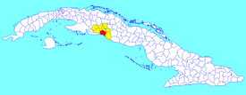 Cienfuegos municipality (red) within  Cienfuegos Province (yellow) and Cuba