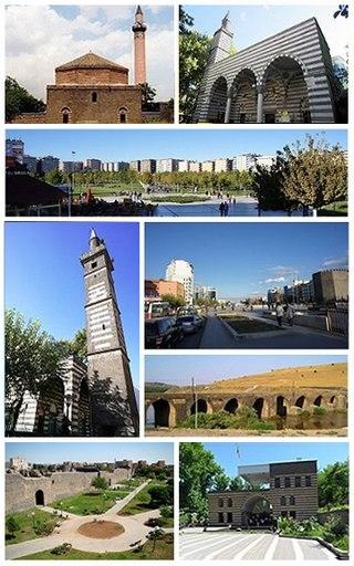 Top left: Ali Pasha Mosque, Top right: Nebi Mosque, 2nd: Seyrangeha Park, 3rd left: Dört Ayakli Minare Mosque, 3rd upper right: Deriyê Çiyê, 3rd lower right: On Gözlü Bridge (or Silvan Bridge), over Tigris River, Bottom left: Diyarbakır City Wall, Bottom right: Gazi Köşkü (Veterans Pavilion)
