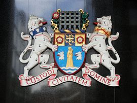 Coat of arms of the City of Westminster at Westminster City Hall