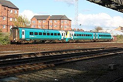 Class 175 units in the sidings at Chester station (27389676301).jpg