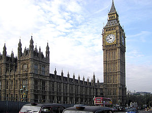 Clock tower and the British parliament in Lond...