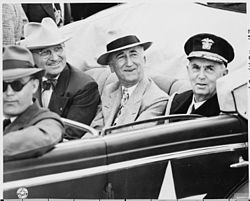 File:Closeup, L to R, in car, President Harry S. Truman, Secretary of State  .... By: US National Archives bot