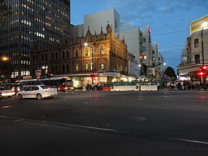 Beehive Corner - At night, looking east towards Rundle Mall from King William Street