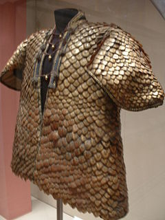 early form of personal armor made of idividual scales mounted on a backing material