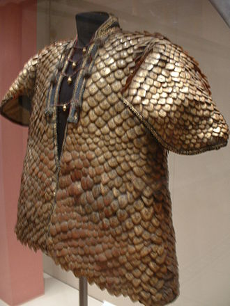 Scale armour - Coat covered with the gold decorated scales of the pangolin. India, Rajasthan, early 19th century.