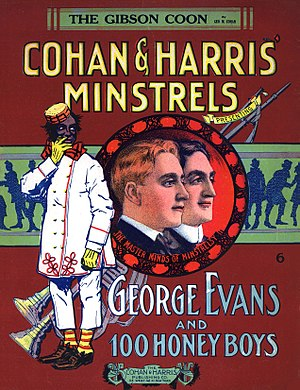 "George ""Honey Boy"" Evans - 1908 sheet music cover depicting George M. Cohan and Sam Harris along with minstrel show star George ""Honey Boy"" Evans."