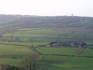 Box, Wiltshire - View from Box Hill with Colerne Water Tower visible on the horizon