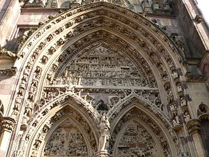 Poor Man's Bible - Saint-Thiébaut church in Thann, Haut-Rhin (Gothic, 14th century). The tympana of the main portal.