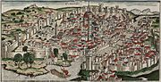 Colored woodcut town view of Florence