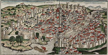 View of Florence by Hartmann Schedel, published in 1493 Colored woodcut town view of Florence.jpg