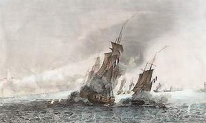 Battle of the Tagus - A French frigate and brig under fire from Portuguese fortifications on the Tage river.