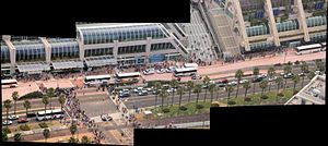 San Diego Comic-Con - Comic Con crowds in 2011 as seen from a helicopter – Panorama.