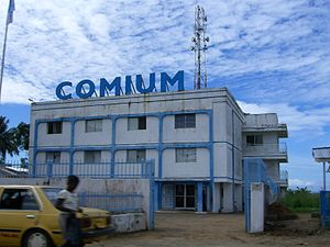 Communications in Liberia - The Comium mobile phone building (2006).