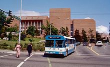 A Community Transit bus turning a corner to leave the University of Washington campus